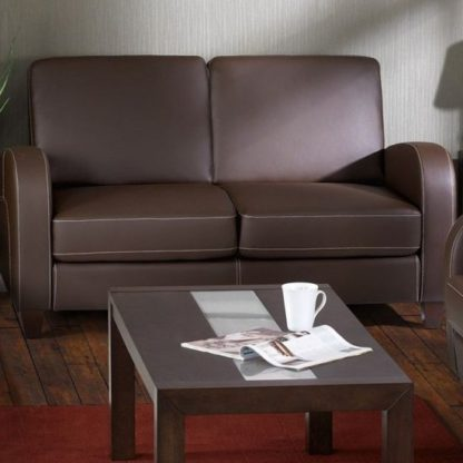 An Image of Vivo Faux Leather Fold Out Sofa Bed In Chestnut