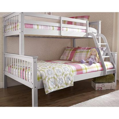 An Image of New Novaro Solid Pine Trio Bunk Bed In Grey