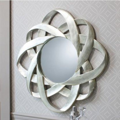 An Image of Costello Wall Mirror Round In Hand Applied Silver Leaf