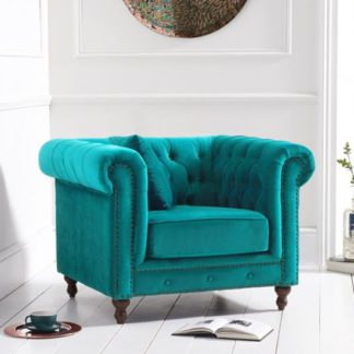 An Image of Propus Plush Fabric Lounge Chaise Armchair In Teal