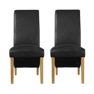 An Image of Treviso Black Finish Dining Chairs In Pair