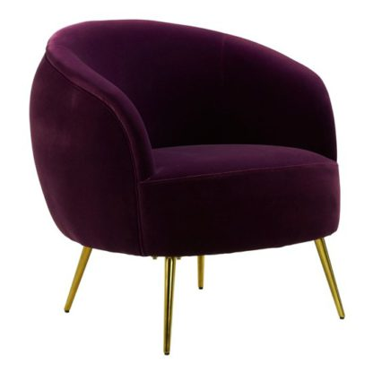 An Image of Intercrus Lounge Chaise Armchair In Purple Velvet