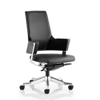 An Image of Cooper Office Chair In Black Bonded Leather With Medium Back