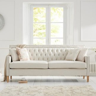 An Image of Bellard Fabric 3 Seater Sofa In Ivory White And Natural Ash Legs