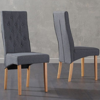 An Image of Caph Grey Fabric Chairs In Pair