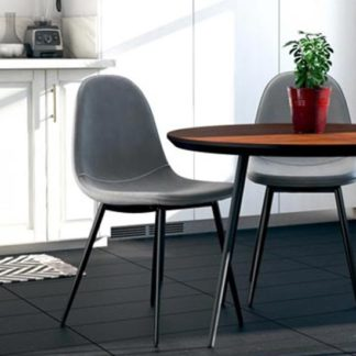 An Image of Calvin Grey Velvet Dining Chairs In Pair