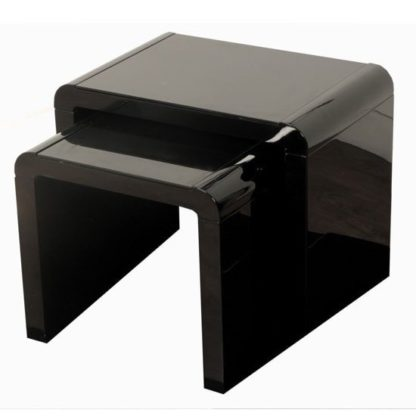 An Image of Norset Modern Set of 2 Nesting Tables In Black Gloss