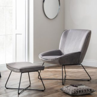An Image of Mila Velvet Bedroom Chair With Stool In Grey