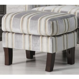 An Image of Humphrey Fabric Footstool In Grey With Wooden Feet