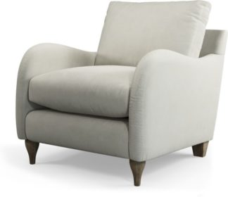 An Image of Custom MADE Sofia Armchair, Plush SIlver Velvet with Light Wood Leg