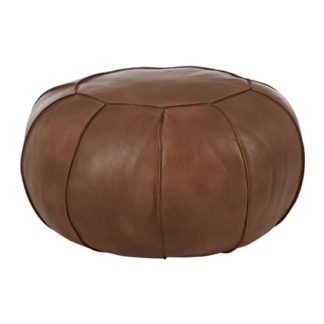 An Image of Australis Pouffe In Brown Tactile Leather
