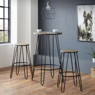 An Image of Dalston Bar Set In Mocha Elm With 2 Stools