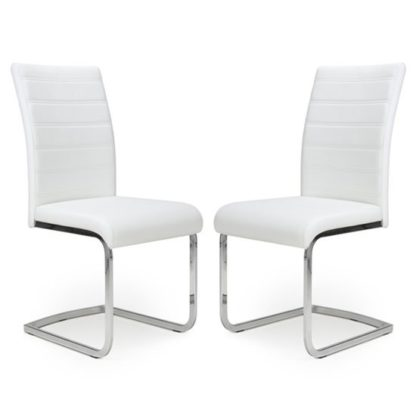 An Image of Callisto White Leather Cantilever Dining Chair In A Pair