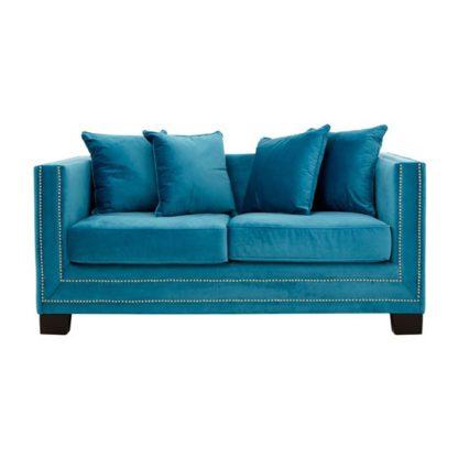 An Image of Pipirima Velvet 2 Seater Sofa In Cyan Blue
