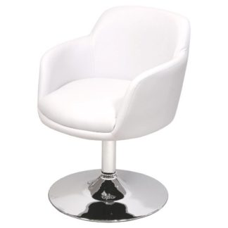 An Image of Bucketeer Bar Chair In White Faux Leather With Chrome Base