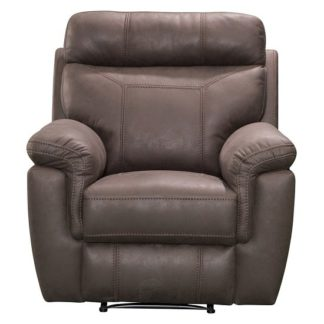 An Image of Colyton Fabric Recliner Sofa Chair In Brown Finish