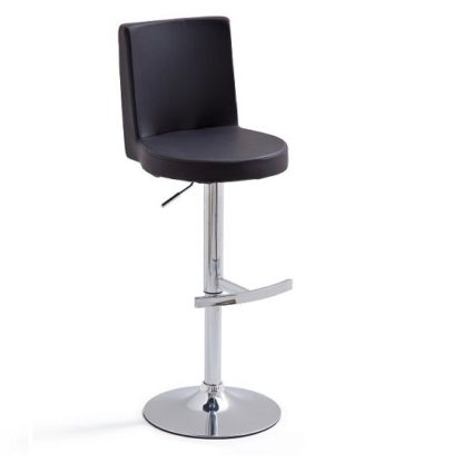An Image of Twist Bar Stool Black Faux Leather With Round Chrome Base