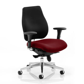 An Image of Chiro Plus Black Back Office Chair With Ginseng Chilli Seat