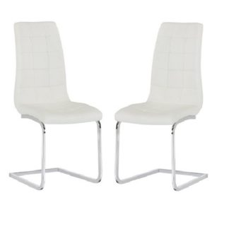 An Image of Torres Dining Chair In White Faux Leather in A Pair