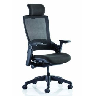 An Image of Molet Black Back Headrest Office Chair With Black Seat