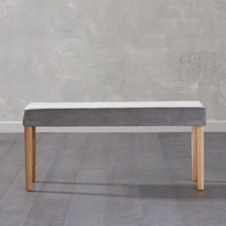 An Image of Birlea Dining Bench Small In Grey Plush Velvet And Oak Legs
