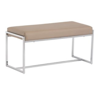 An Image of Soho Small Faux Leather Dining Bench In Stone