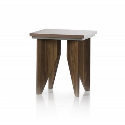 An Image of Michigan Wooden Lamp Table Sqaure In Walnut And Grey