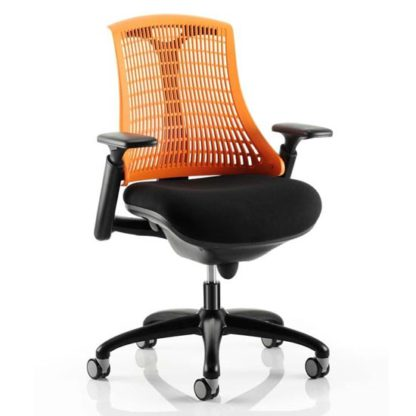 An Image of Flex Task Office Chair In Black Frame With Orange Back