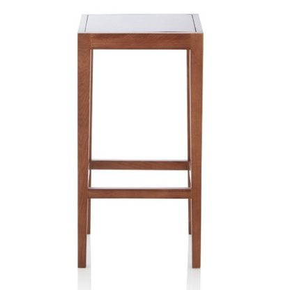 An Image of Proctor Wooden Bar Stool Square In Walnut