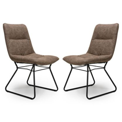 An Image of Darcy Wax Tan Faux Leather Dining Chair In A Pair