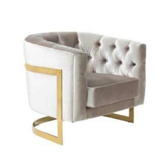 An Image of Lincoln Accent Chair In Grey Velvet And Gold Plated Steel