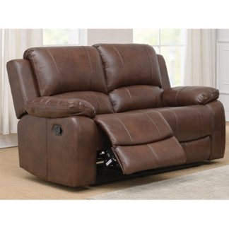 An Image of Andalusia Recliner LeatherGel And PU 2 Seater Sofa In Whiskey