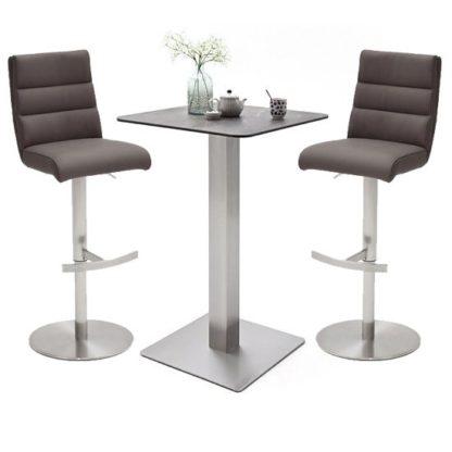 An Image of Soho Glass Bar Table With 2 Hiulia Brown Stools