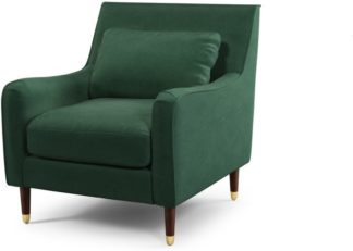 An Image of Content by Terence Conran Oksana Armchair, Plush Hunter Green Velvet with Dark Wood Brass Leg