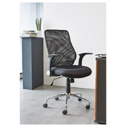 An Image of Kendal Home Office Chair In Black With Chrome Base