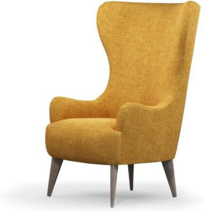 An Image of Custom MADE Bodil Accent Armchair, Imperial Yellow with Light Wood Leg