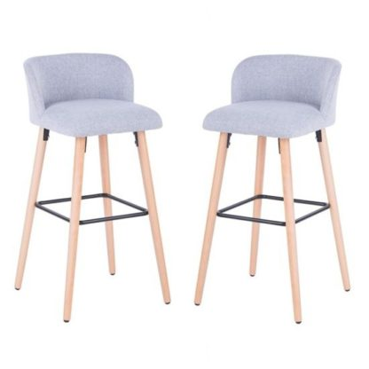An Image of Gunning Fabric Bar Stool In Grey With Wooden Legs In A Pair