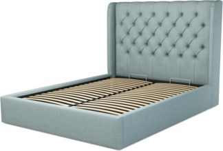 An Image of Custom MADE Romare King size Bed with Ottoman, Sea Green Cotton