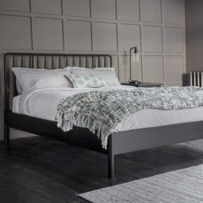 An Image of Wycombe Wooden Spindle Double Bed In Black