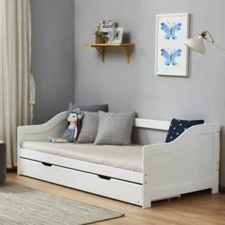 An Image of Tupelo Wooden Single Bed In White With Pull Out Trundle