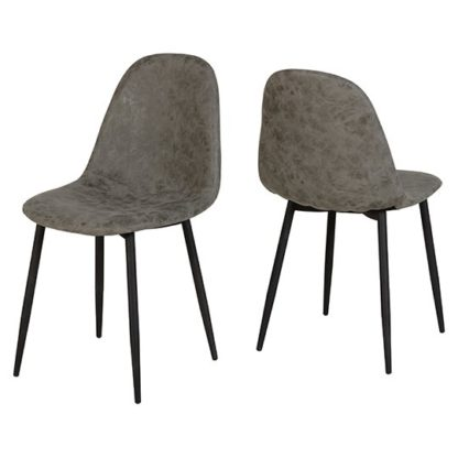 An Image of Athens Fabric Dining Chair In Grey Faux Leather In Pair