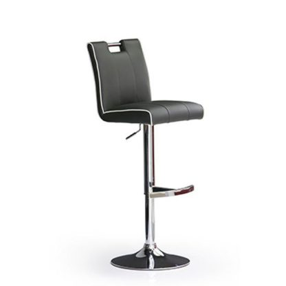 An Image of Casta Grey Bar Stool In Faux Leather With Round Chrome Base