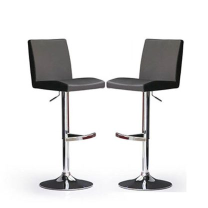 An Image of Lopes Bar Stools In Black Faux Leather in A Pair