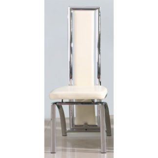 An Image of Chicago Dining Chair In Cream With Padded Seat and Chrome Legs