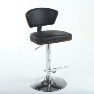 An Image of Mantis Bar Stool In Black PU And Walnut With Chrome Base