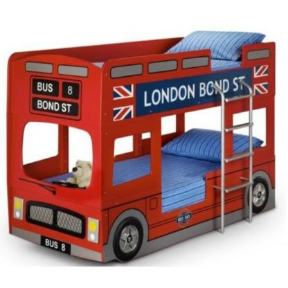 An Image of London Bus Modern Style Children Bunk Bed In Red