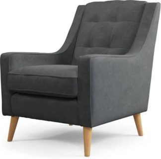 An Image of Content by Terence Conran Tobias, Armchair, Plush Shadow Grey Velvet, Light Wood Leg