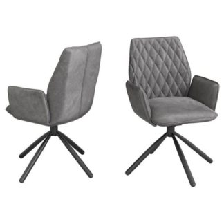 An Image of Zanetti Swivel Dark Grey Velvet Fabric Dining Chairs In Pair