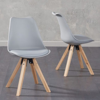 An Image of Tupa Light Grey Faux Leather Chairs In Pair With Square Leg