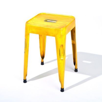 An Image of Melange Stackable Metal Stool In Yellow